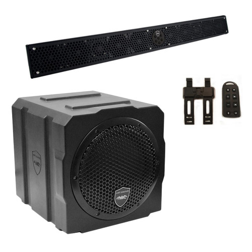 "Wet Sounds Package - Black Stealth 10 Ultra HD Sound Bar w/ Remote and AS-8 8"" 350 Watt Powered Stealth Subwoofer"