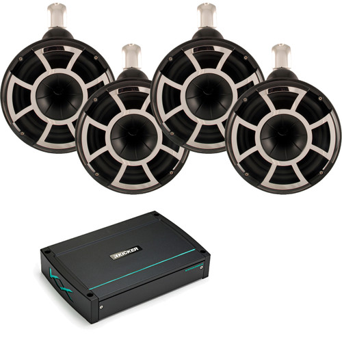 Kicker 44KXMA12002 1200 Watt Two Channel Amp & Two pairs of Wet Sounds Black REV8 Fixed clamp Waketower Speakers