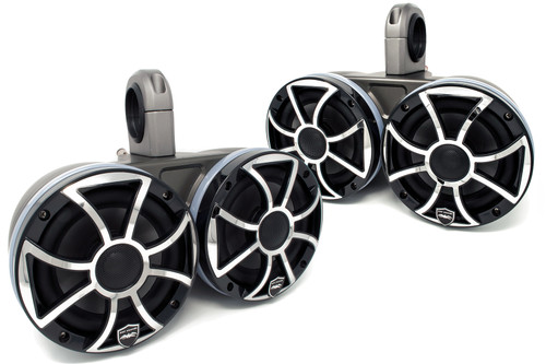 """Two Pairs of Wet Sounds REVO6-XSB-SS Black 6.5"""" LED Speakers in KMTED Black Enclosures with RGB LED Rings"""