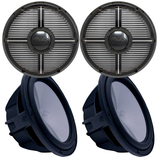 """Two Wet Sounds Revo 12"""" Subwoofers & Grills - Black Subwoofers & Black Closed Face XW Grills - 4 Ohm"""