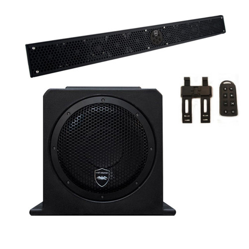 "Wet Sounds Package - Black Stealth 10 Ultra HD Sound Bar w/ Remote and AS-10 10"" 500 Watt Powered Stealth Subwoofer"