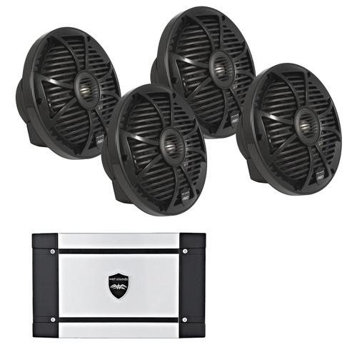 "Wet Sounds 8"" Black Marine System: Two pairs of SW-808-B 8"" speakers & HT-2 Amplifier 600 Watt Amplifier"