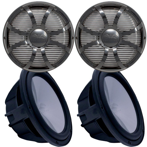 """Two Wet Sounds Revo 12"""" Subwoofers & Grills - Black Subwoofers & Black Closed Face SW Grills - 4 Ohm"""