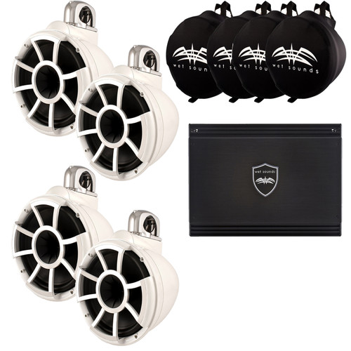 Wet Sounds Two Pairs of White REV 10 Swivel Clamp Tower Speakers with Wet Sounds Suitz speaker Covers & SD2 Amplifier