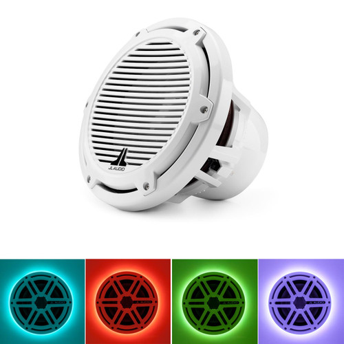 JL Audio M10W5-CG-WH:10-inch (250 mm) Marine Subwoofer Driver White Classic Grille With RGB LED Speaker Ring