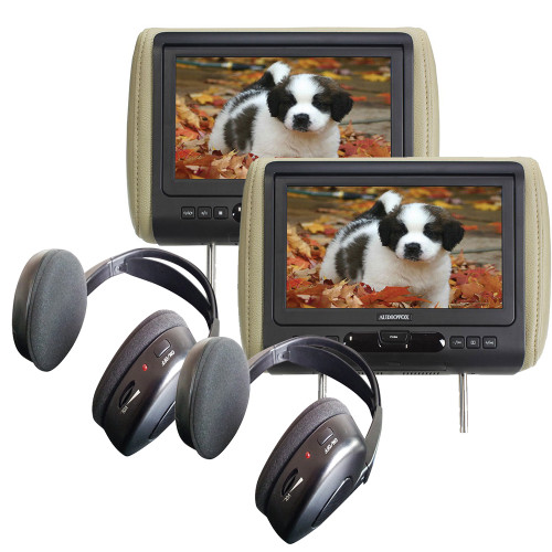 """Audiovox Movies2Go - Two AVXMTGHR9HD 9"""" Headrest Monitor Systems w/ Built in DVD Players"""