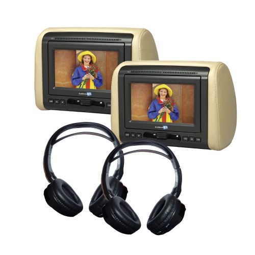 """(2) 7"""" DVD Headrest Monitor Systems with (2) Headphones"""