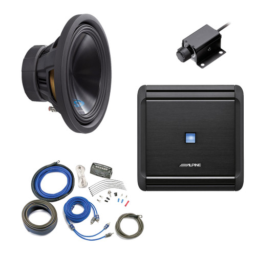 "Alpine Bass Package - Type-S 12"" Subwoofer, MRV-M500 500 watt amp, Bass Knob, and  Wiring Kit"