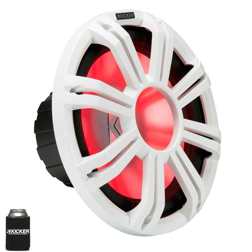 """Kicker KMF122 12"""" Marine Subwoofer with LED White Grill 2 Ohm for Free Air Applications"""