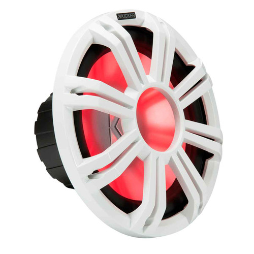 "Kicker KMF124 12"" Marine Subwoofer with LED White Grill 4 Ohm for Free Air Applications"