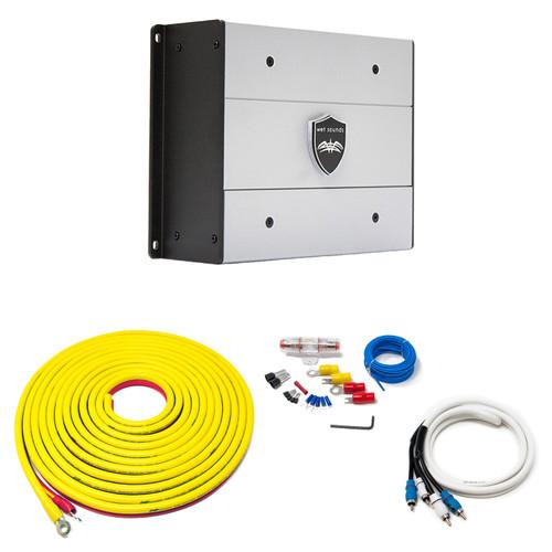 Wet Sounds HTX2 Package: 600 watt 2-channel amplifier & Stinger 7-Meter 4-Gauge Amplifier Wiring Kit w/ RCAs