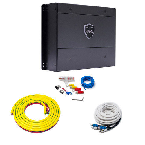 Wet Sounds SYN-DX 2 Full Range Class D Amplifier & Stinger 3-Meter 4-Gauge Amplifier Wiring Kit w/ RCAs