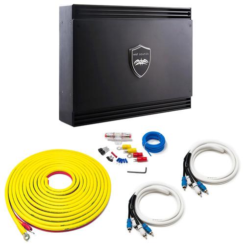 Wet Sounds Sinister SDX4 4-Channel Amplifier & Stinger 7-Meter 4-Gauge Amplifier Wiring Kit w/ RCAs