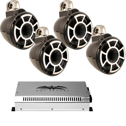 """Wet Sounds 8"""" Black Tower System: Two pairs of REV8B-FC 8"""" Tower speakers & SYN2 700 Watt Amplifier"""