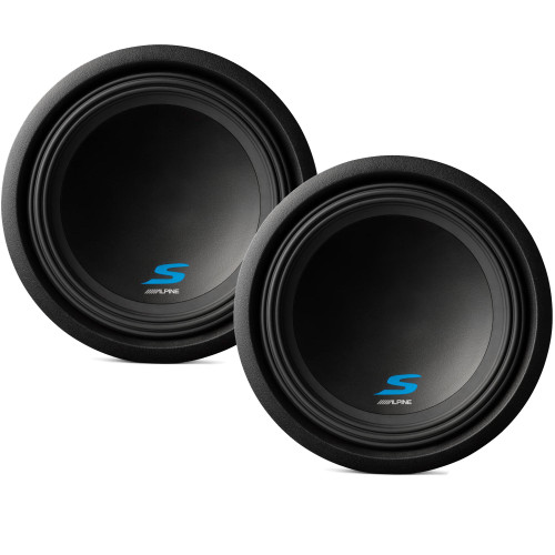 """Alpine Subwoofer Package - Two S-W12D2 S-Series 12"""" Dual 2-Ohm Subwoofers"""