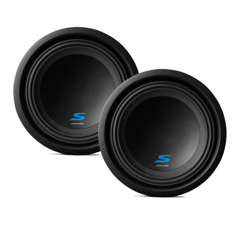 """Alpine Subwoofer Package - Two S-W10D4 S-Series 10"""" Dual 4-Ohm Subwoofers"""