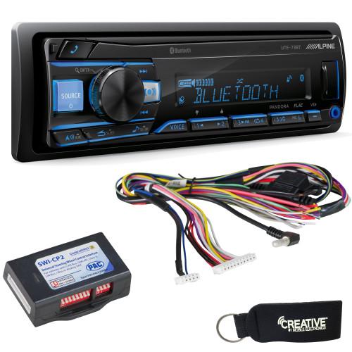 Alpine UTE-73BT Mech-less Bluetooth Digital Media Receiver with SWI-CP2 Steering Wheel Interface