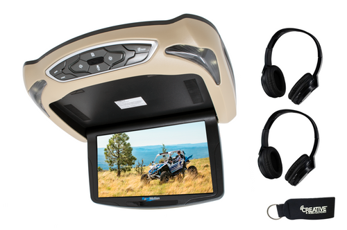 "RoadMotion RM10 10.2"" LED 16:9 High Resolution Overhead DVD Player + Two Pairs Of Wireless Headphones"