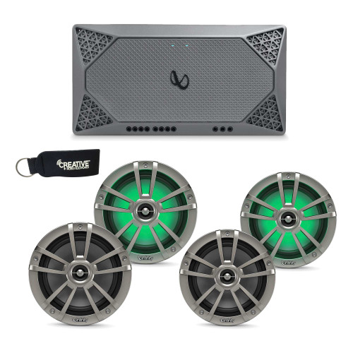 "Infinity Marine - Two Pairs of 622MLT Titanium 6.5"" LED Speakers, and a M704A 4-Channel Marine Amplifier"