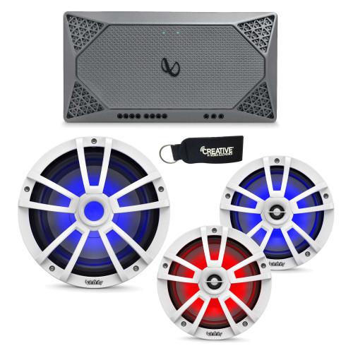 "Infinity Marine - A Pair of 822MLW White 8"" LED Speakers, A 1022MLW 10"" LED Subwoofer & a M704A 4-Channel Amplifier"
