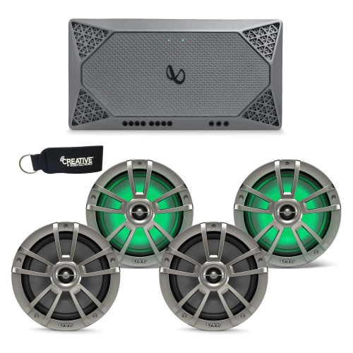 "Infinity Marine - Two Pairs of 822MLT Titanium 8"" LED Speakers, and a M704A 4-Channel Marine Amplifier"