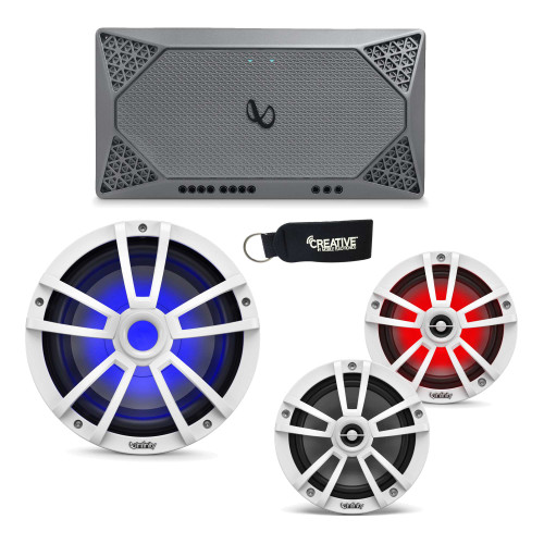 "Infinity Marine - A Pair of 622MLW White 6.5"" LED Speakers, A 1022MLW 10"" LED Subwoofer & a M704A 4-Channel Amplifier"