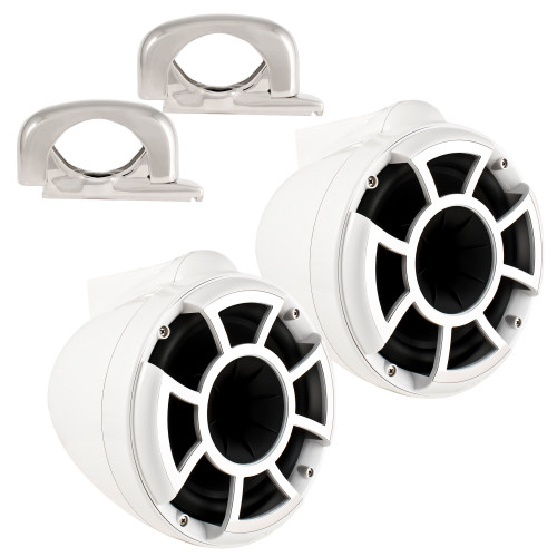 """Wet Sounds REV8 White 8"""" Tower Speakers with Mini Fixed Clamps - Fits 1"""" to 1 7/8"""" Pipe"""
