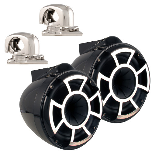 """Wet Sounds REV8 Black 8"""" Tower Speakers with Mini Swivel Clamps - Fits 1"""" to 1 7/8"""" Pipe"""