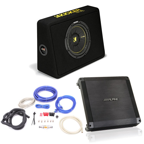"""Alpine BBX-T600 Amplifier and Kicker TCWC104 CompC 10"""" Truck Subwoofer Enclosure - Includes wire kit"""