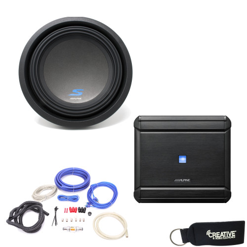 """Alpine MRV-M500 Amplifier and a S-W10D4 S-Series 10"""" Dual 4-Ohm Subwoofer - Includes wire kit"""