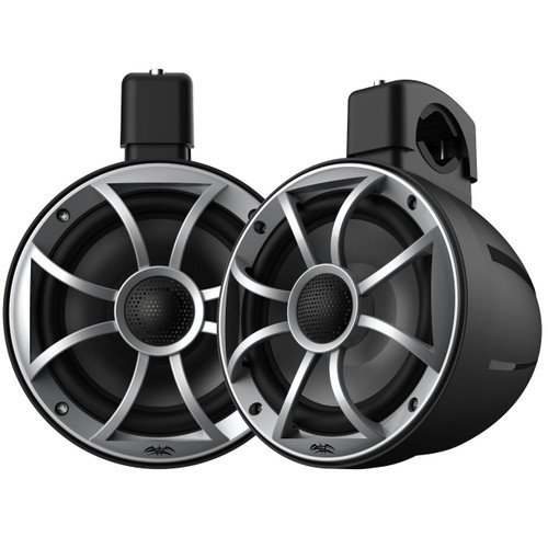 Wet Sounds RECON 6 POD-B - Wet Sounds 6.5 Inch Coaxial Tower Speakers, Black Enclosures with Silver XS Grilles (pair)