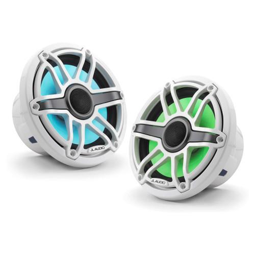 JL Audio 7.7-Inch M6 Marine Coaxial Speaker System, RGB LED, Gloss White, Sport Grille - SKU: M6-770X-S-GwGw-i