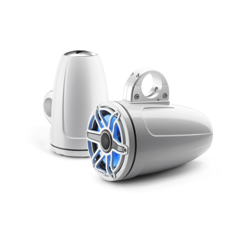 JL Audio 7.7-Inch M6 ETXv3 Tower Speaker System, RGB LED, Gloss White, Sport Grille - M6-770ETXv3-Gw-S-GwGw-i