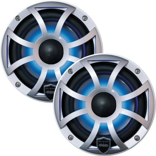 Wet Sounds REVO 6-XSS Silver Open XS Grille 6.5 Inch Marine LED Coaxial Speakers (pair) - Used Good