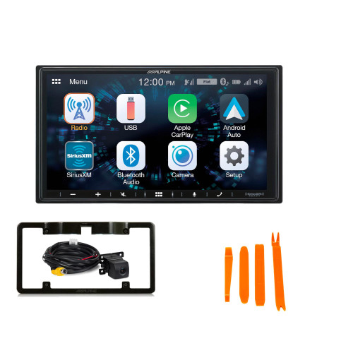 Alpine iLX-W650 Compatible with CarPlay & Android Auto - Includes Back up Camera and License Plate Frame