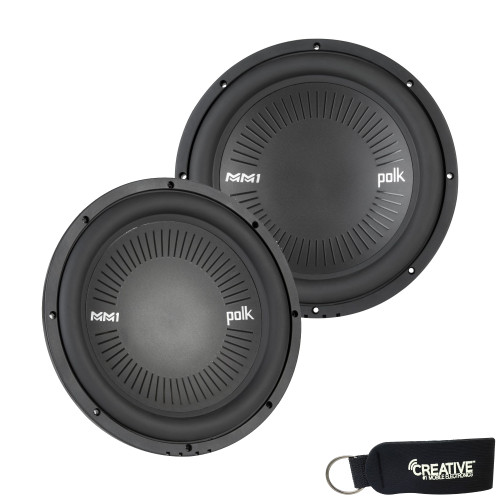 """Polk MM1042DVC 10"""" Dual 4-Ohm Voice Coil Subwoofer Bundle Includes 2 woofers with Marine Certification"""