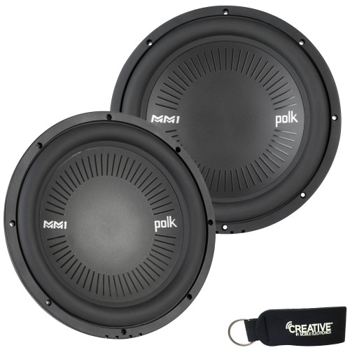 """Polk MM1242SVC 12"""" Single 4-Ohm Voice Coil Subwoofer Bundle Includes 2 woofers with Marine Certification"""