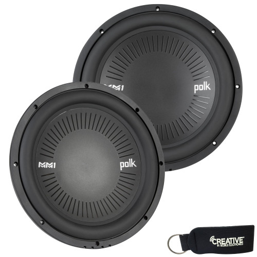 """Polk MM1242DVC 12"""" Dual 4-Ohm Voice Coil Subwoofer Bundle Includes 2 woofers with Marine Certification"""