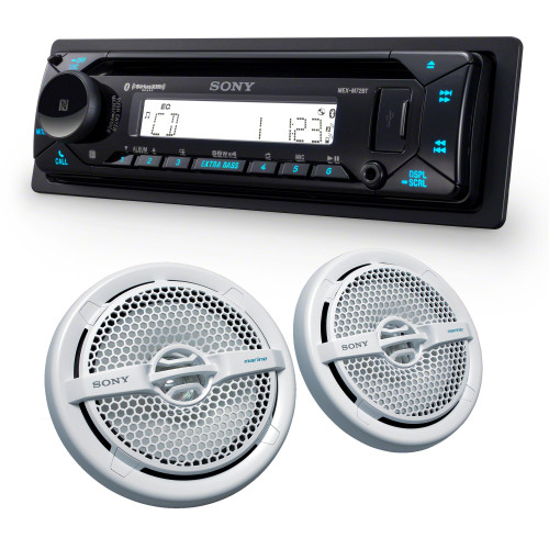 "Sony MEX-M72BT Marine Bluetooth/CD Receiver & A Pair of XS-MP1611 6.5"" Marine Dual Cone Speakers"