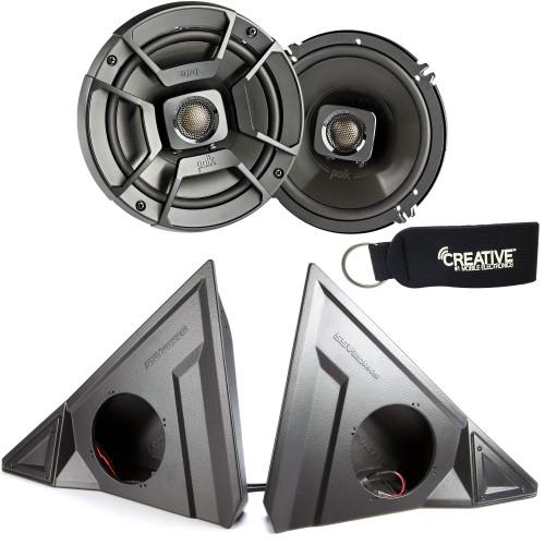 "SSV Works For SS-F65U Polaris Slingshot Front Kick Pods + Polk DB652 6.5"" Marine Rated Coax Speakers"