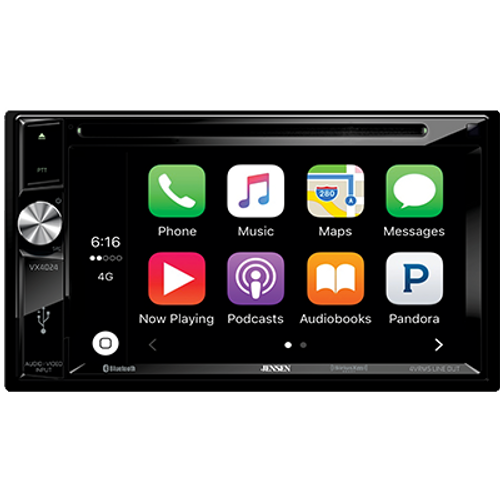 """Jensen Refurbished VX4024 2 DIN 6.2"""" Double DIN Touchscreen DVD Receiver with CarPlay"""