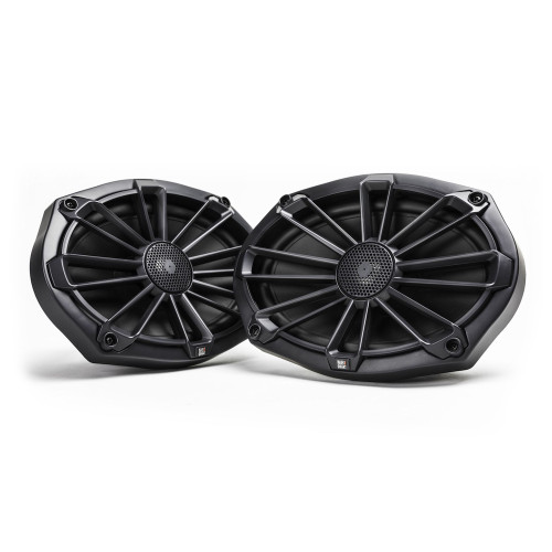 MB Quart NP1-169 Nautic Premium Waterproof 6x9 Inch Marine Speakers (black, Pair) With 3 Grill Colors Included.