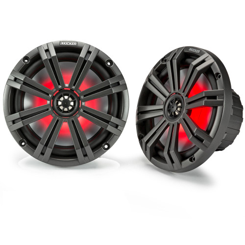 "Kicker 8"" Charcoal Marine LED Speakers - 1-Pairs of OEM replacement speakers"