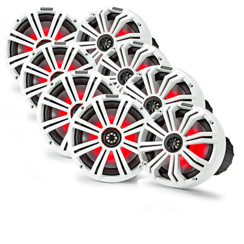 "Kicker 8"" White Marine LED Speakers - 4-Pairs of OEM replacement speakers"