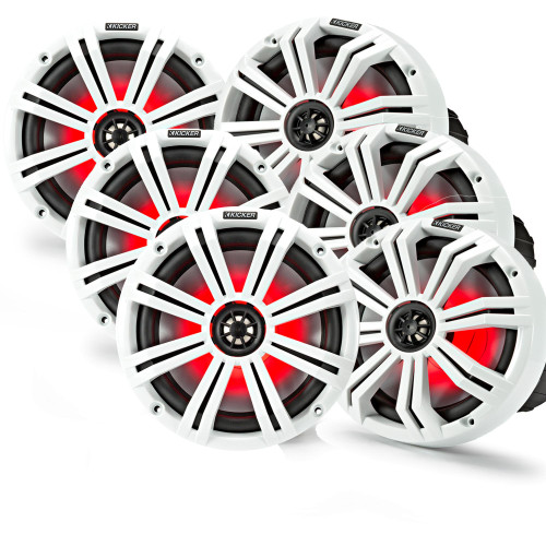 "Kicker 8"" White Marine LED Speakers - 3-Pairs of OEM replacement speakers"