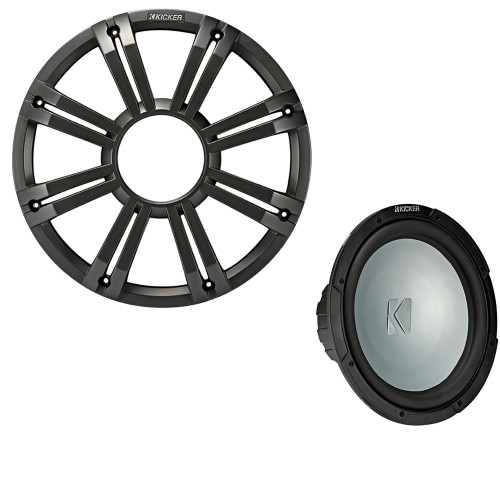 Kicker 45KMF104 10 Inch LED Marine Subwoofer in Charcoal 4 Ohm each (FreeAir)