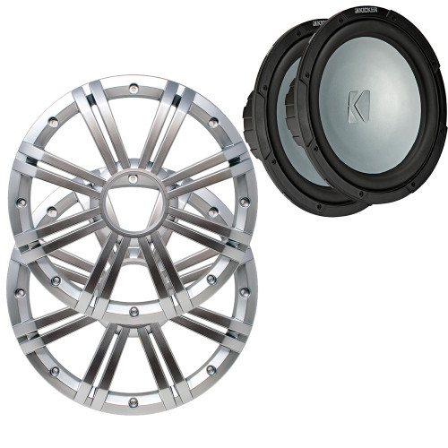 Kicker - Two 10 Inch LED Marine Subwoofers in Silver, 2 Ohm Bundle 4 Ohm each