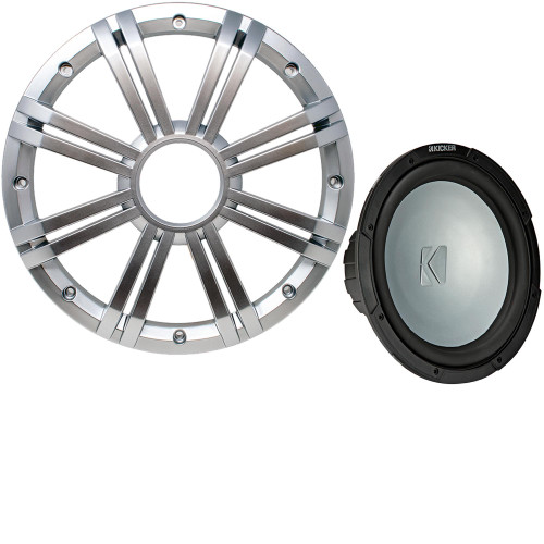 Kicker 45KMF104 10 Inch LED Marine Subwoofer in Silver 4 Ohm each (FreeAir)