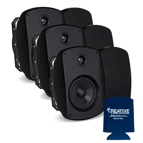 """Russound 5"""" Black Indoor Outdoor Wall Mount or Bookshelf Speaker Bundle 3 pair (6 total)"""