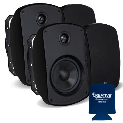 """Russound 5"""" Black Indoor Outdoor Wall Mount or Bookshelf Speaker Bundle 2 pair (4 total)"""